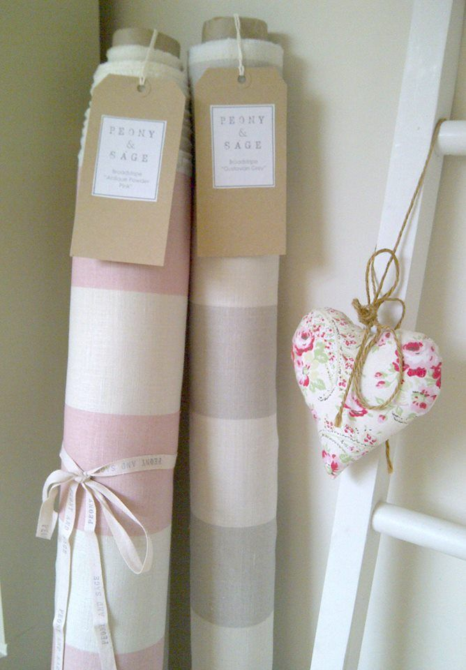 Peony and Sage Broadstripes. Beautiful shades of Antique Powder Pink & Gustavian Grey. Horizontal or Vertical repeats available. £44.95pm
