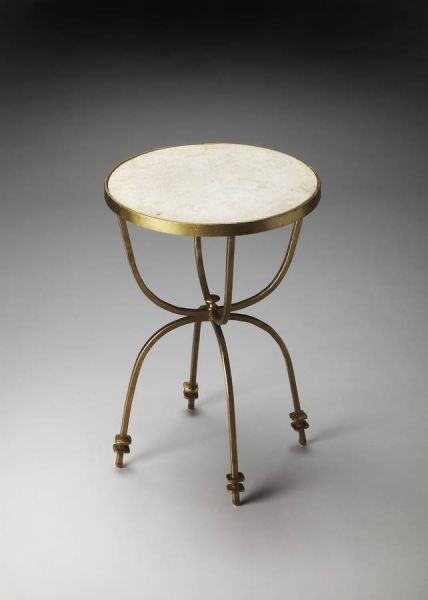 Metalworks Transitional Iron Marble Accent Table