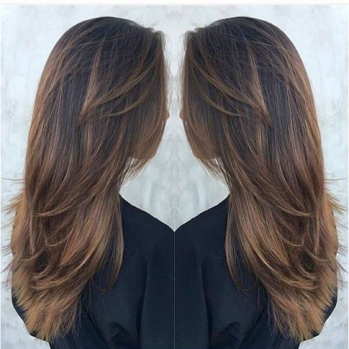 фото стрижка на длинные волосы с челкой
