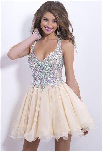 2014 New Fashion Homecoming Dresses Sexy Deep V Neck Mini Chiffon Short Crystal Bodice Short Prom Dress Party Cocktail Dresses 0702B