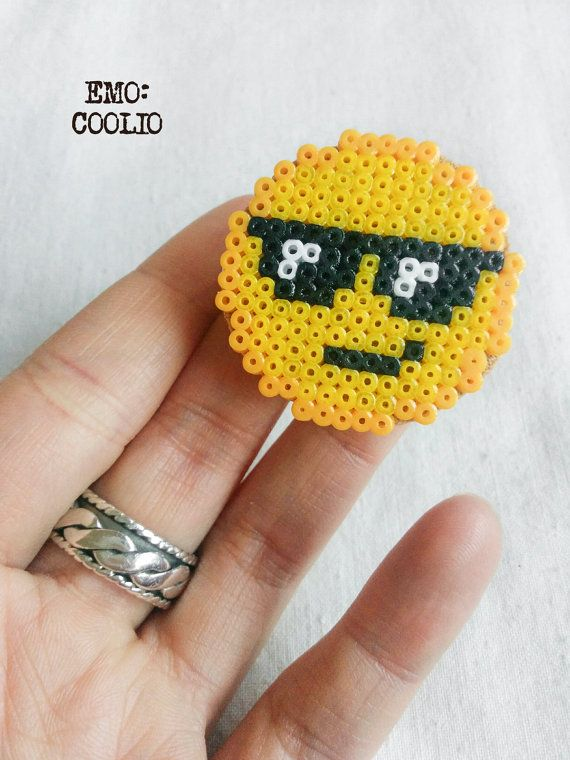 Cool as a cucumber retro-vibed pixel emoticon brooch Coolio made of Hama Mini Perler Beads by SylphDesigns