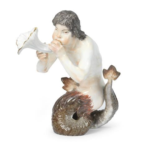 A rare Meissen figure of a Triton, circa 1740, This figure, together with the companion figure of a Nereid, may have been modelled for the dessert table of the Swan Service; see U. Pietsch, Schwanenservice (2000), cat. nos. 61-62, for the pair of figures in the Grassi Museum, Leipzig.
