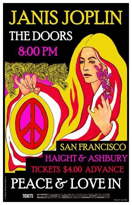 Janis Joplin, The Doors poster    the gal here is represented as ???? (pece and love?)