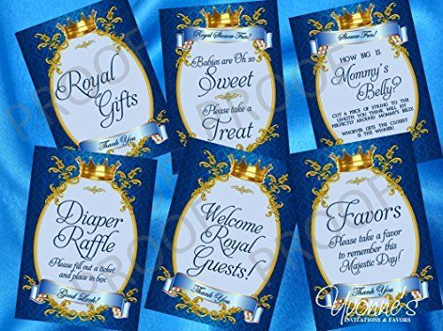 Royal Baby Boy Little Prince Party Signs/ Dessert Table / Game Signs (Set of 6) - Royal Blue and Gold - Baby Shower, Baby's First Birthday