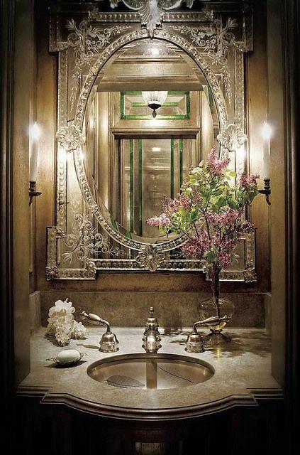 by Things That Inspire, via Flickr. Venetian mirror in powder room