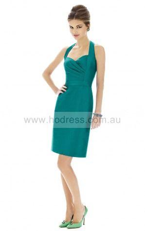 Sleeveless Zipper Halter Knee-length Satin Formal Dresses b140560--Hodress