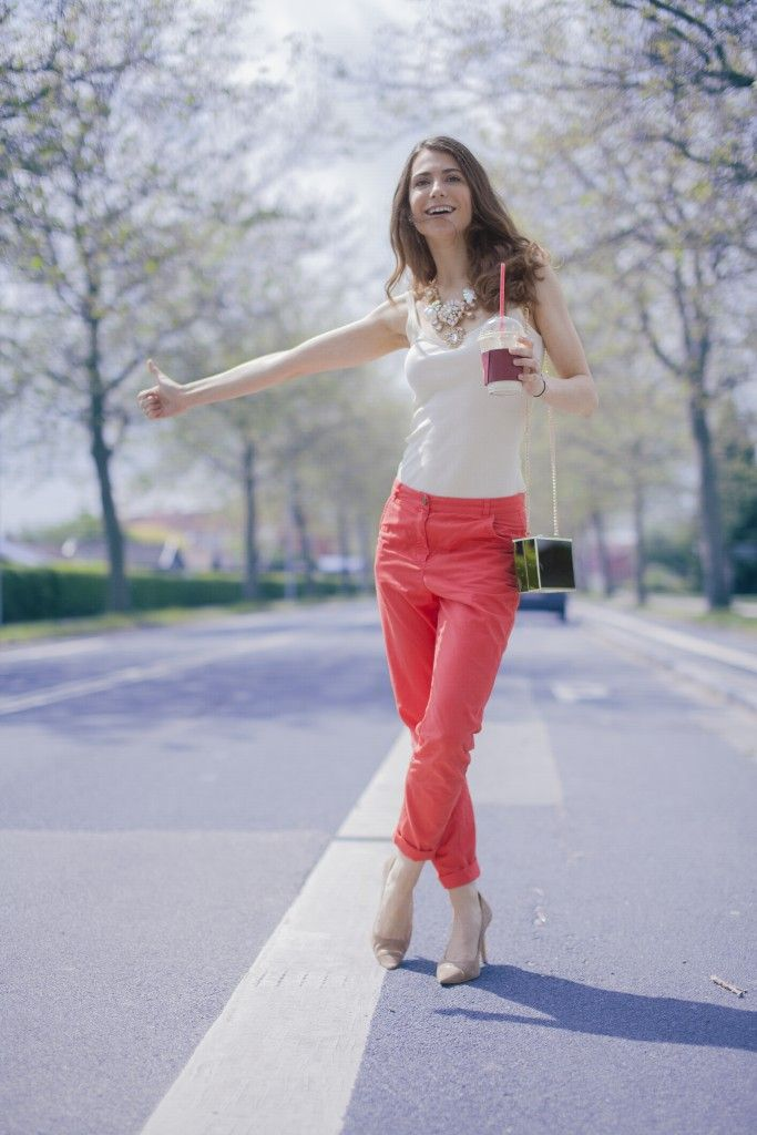 My style #hitchhiking #hitchhikinggirl #redpantsoutfit #outfit #tanktop #necklace #coffee #coffeetogo #fashion