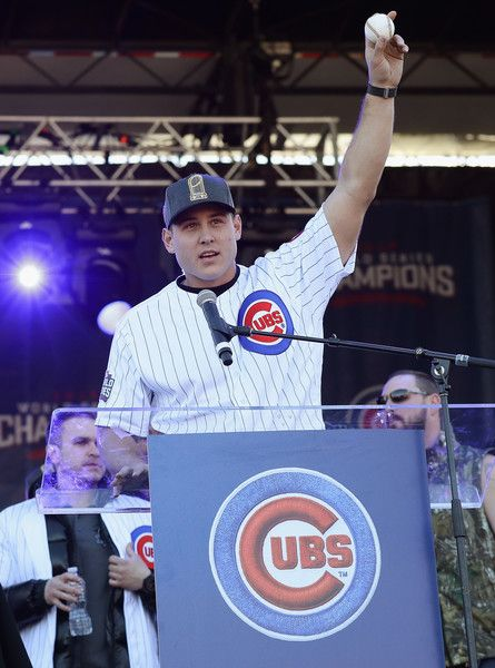 Anthony Rizzo of the Chicago Cubs holds the ball from the final out of the World Series during the Chicago Cubs victory celebration in Grant Park on November 4, 2016 in Chicago, Illinois. The Cubs won their first World Series championship in 108 years after defeating the Cleveland Indians 8-7 in Game 7.