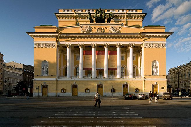 Main facade of the Imperial Alexandrinsky Theatre in St Petersburg, Russia