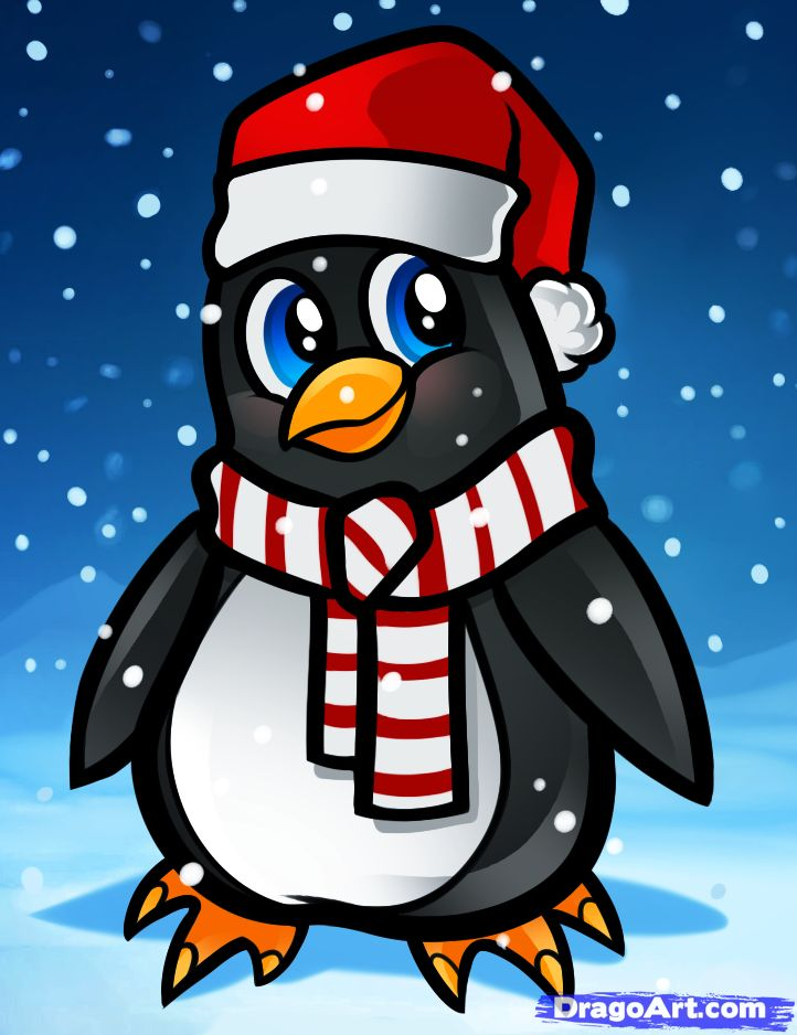 Cartoon Christmas Penguin | how to draw a christmas penguin | Cartoon Drawing Ideas | Pinterest ...