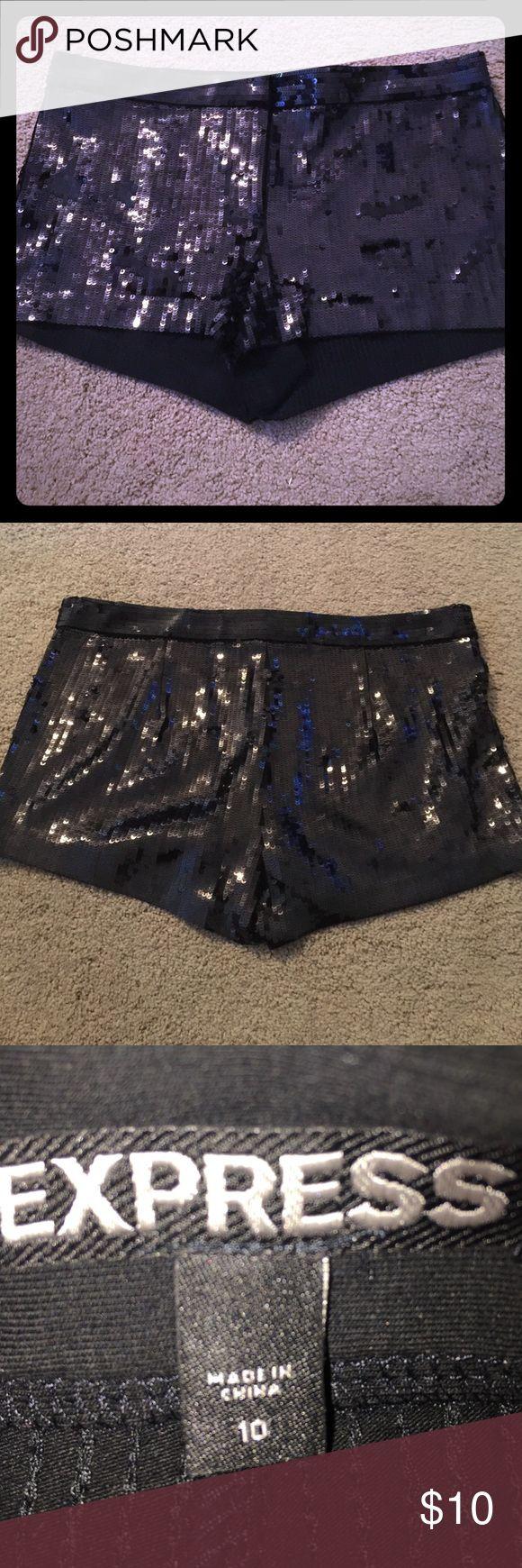 Sequin shorts (express) Black sequin mini shorts. Worn once! Express Shorts