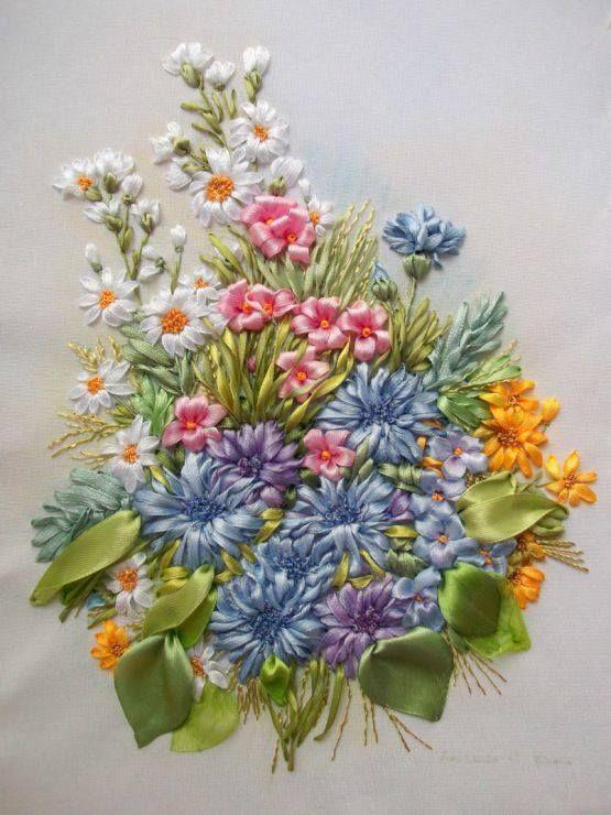 More beautiful ribbon embroidery... - Inspirations ...