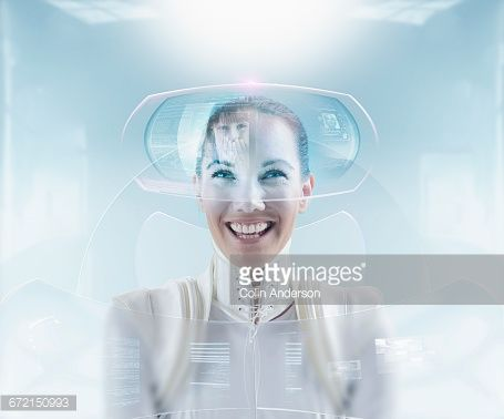 Stock Photo : Futuristic woman video conferencing with daughter on hologram screen