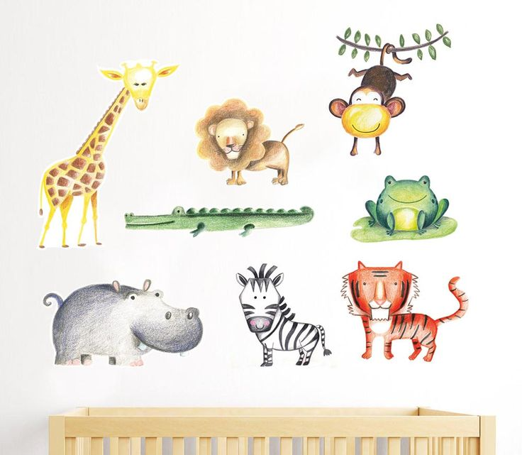 Jungle nursery decal, Baby giraffe decal, African safari ...