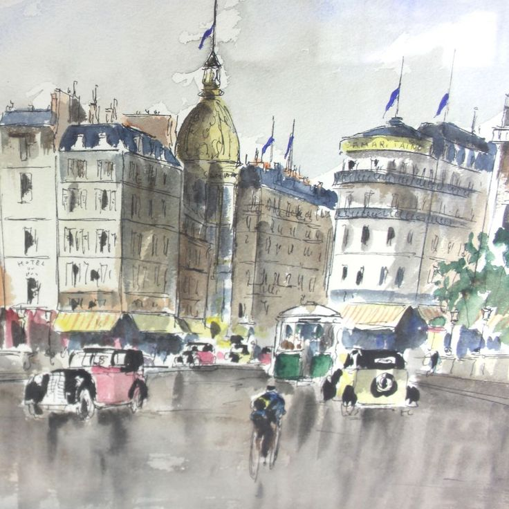 Paris Watercolor And Ink Painting By French Artist Guy De