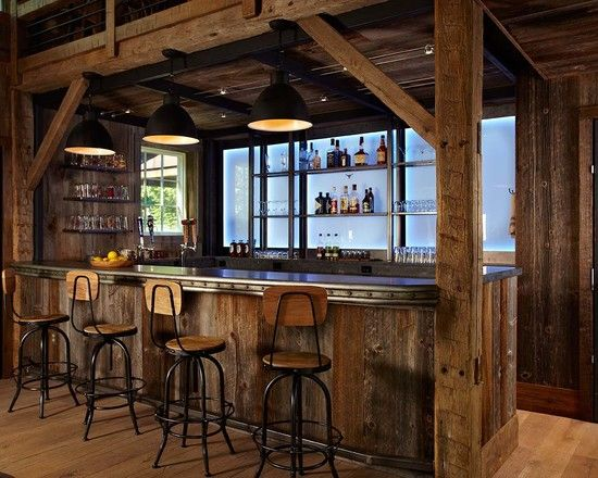 Farmhouse Home Bar Counter Also Black Industrial Pendant Lights Also Wooden  Bar Stools With Back And Black Metal Legs Also Light Brown Floorboards  Color ...
