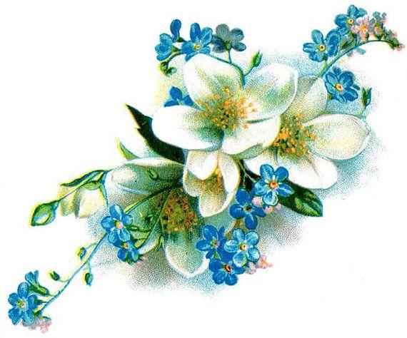 Vintage azul y blanco floral tatuaje temporal día de por pepperink