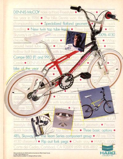 Classic 80's advertisement for the Haro Master freestyle bike featuring pro flatlander, Dennis McCoy.