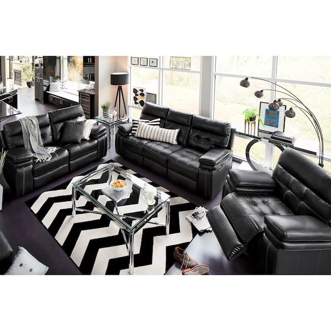 Brisco Power Reclining Sofa Loveseat And Glider Recliner Set Black Value City Black Leather Couch Living Room Leather Couches Living Room Reclining Sofa #small #living #room #recliners