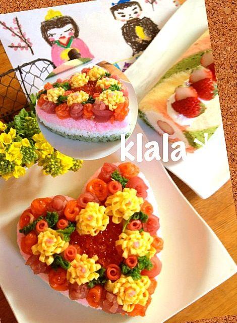 今日は楽しい雛祭りぃ♪ ❤のケーキ寿司☆