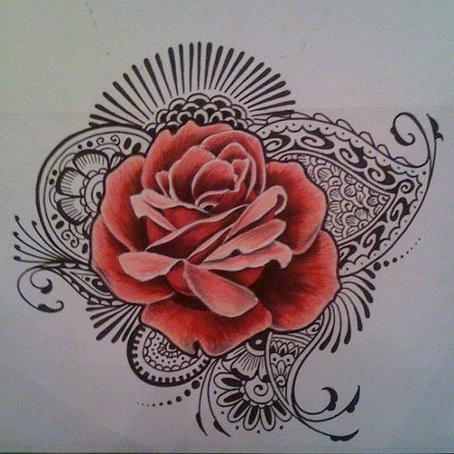 Another #doodle #drawing #rose #henna #illustration #fancy #paisley #flower