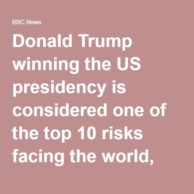Donald Trump winning the US presidency is considered one of the top 10 risks facing the world, according to the Economist Intelligence Unit.