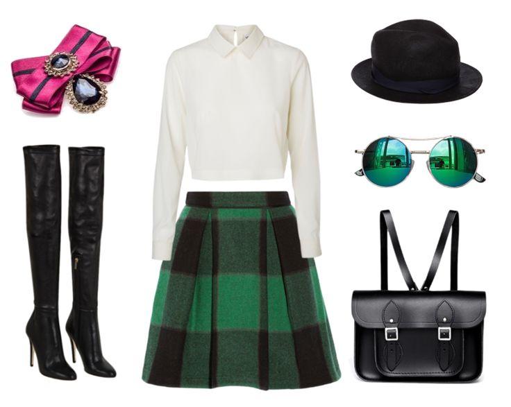 (Jimmy Choo boots,SEA Buffalo plaid stretch-wool skirt, Vero Moda shirt,Cambridge Satchel, Chicnova Fashion sunglasses, Rag & Bone hat, brooch by House of April)