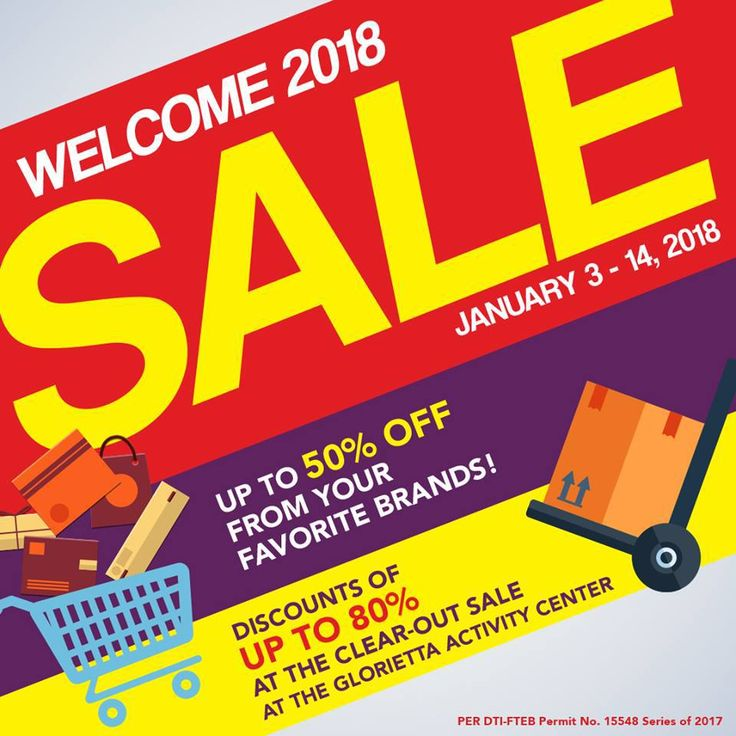 Welcome 2018 Clear-Out Sale @ Glorietta. CLICK HERE for more details: https://dealspinoy.com/welcome-2018-clear-out-sale-glorietta/ #DealsPinoy #ILoveGlorietta