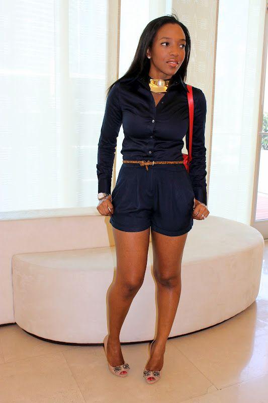 romper. hot.: Summer Fashion, Womens Fashion, Fashion Clothing, Style, Navy Blue Shorts, Short Suits, Summer Clothing, Navy Tops