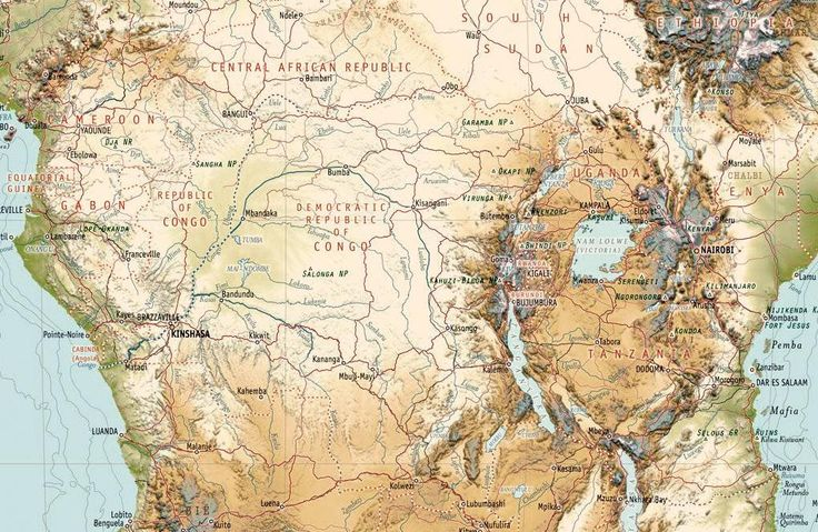 Africa map detail showing mountains, rivers and valleys of central Africa www.clipclop.co.za