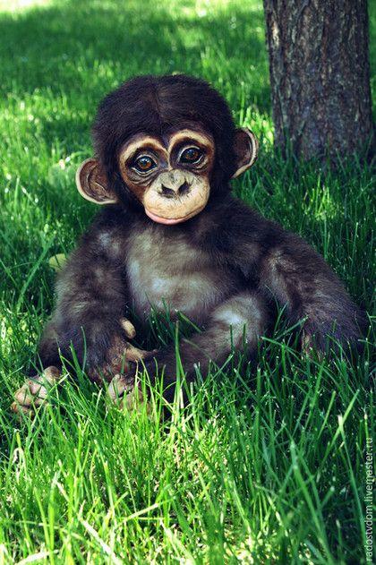 Мишки Тедди ручной работы. Ярмарка Мастеров - ручная работа. Купить Детеныш шимпанзе - Оскар. Handmade. Коричневый, фимо паппен