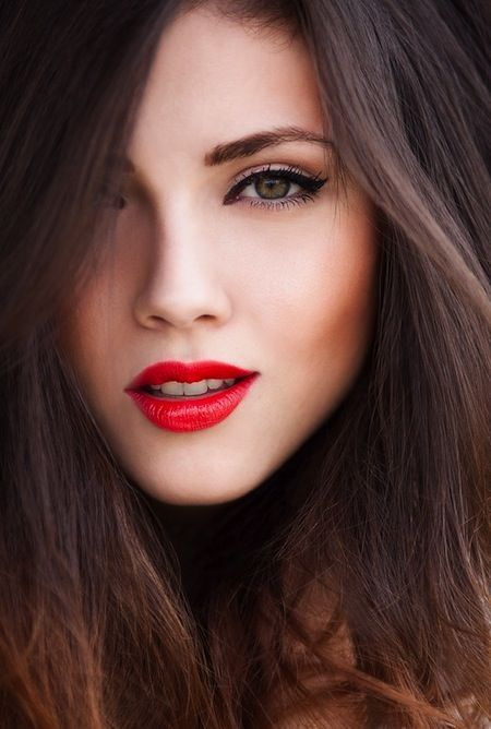 Pop of red lipstick