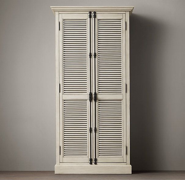 Shutter Cabinets 77 Quot H Distressed White Oak Taupe Or
