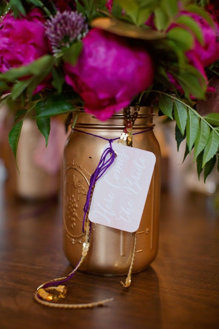 Colorful Rustic Dallas Wedding from Sarah Kate - wedding centerpiece idea