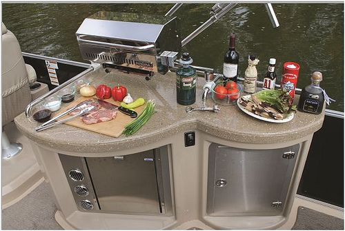 The galle on a Sylvan Mandalay pontoon complete with a grill and a refrigerator!