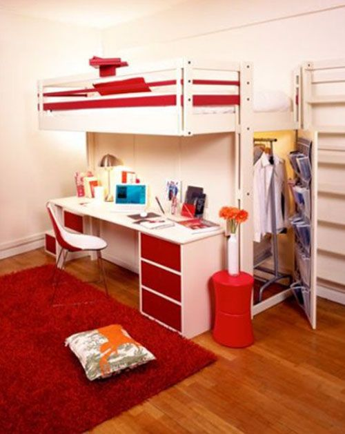 Bunk bed with desk underneath target woodworking for Bunk beds in closet space