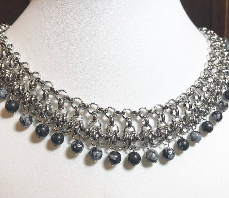 Beautiful jasper and stainless steel chainmail from IronLaceDesign https://www.etsy.com/ca/listing/570434846/jasper-and-steel-choker