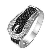Vintage Design Black & White Sapphire Biżuteria Kobiety Wedding Band Pierścień Anel Biały CZ Złoty Wypełniony Pierścionki Zaręczynowe Sz6-10 RW0188(China (Mainland))