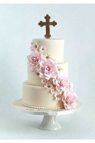 Beautiful flower garland baptism cake for baby girl.