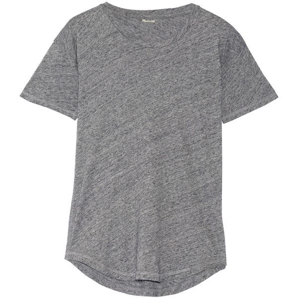 Madewell Whisper cotton-jersey T-shirt (£27) via Polyvore featuring tops, t-shirts, grey, madewell tee, madewell t shirts, cotton jersey t shirt, curved hem t shirt and curved hem tee