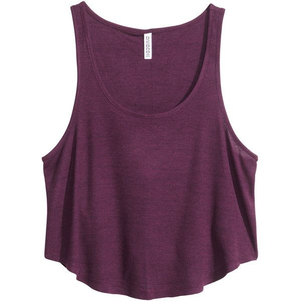 H&M Ribbed singlet ($5.74) ❤ liked on Polyvore featuring tops, shirts, tank tops, crop tops, dark purple marl, jersey shirts, jersey crop top, purple shirt, h&m shirts and crop top