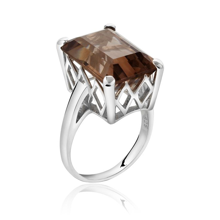 The Victoria ring with smokey quartz. Sterling silver cocktail ring $255.