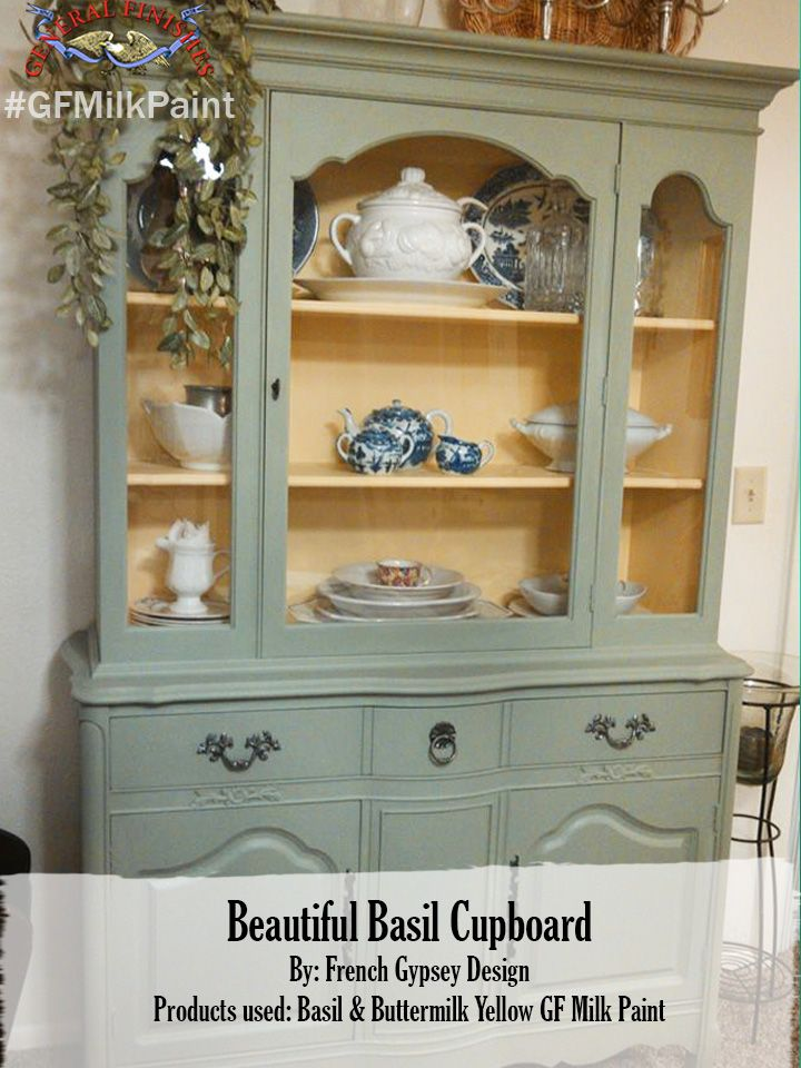 French Gypsy Designs, https://www.facebook.com/FrenchGypsyDesigns/timeline, made over this hutch with General Finishes Buttermilk Yellow on the inside and Basil on the outside. We'd love to see your projects made with General Finishes products! Tag us with #GeneralFinishes or share with us through our facebook page. #gfmilkpaint #paintedfurniture