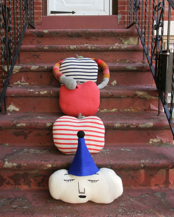 Looks like some of our extra soft #Goodies met on a #Brooklyn stoop this weekend! Want to know more about these very cool items? Visit our Goodies page here! Thanks to @Lee Semel Semel Clower for this great picture! #oeufnyc