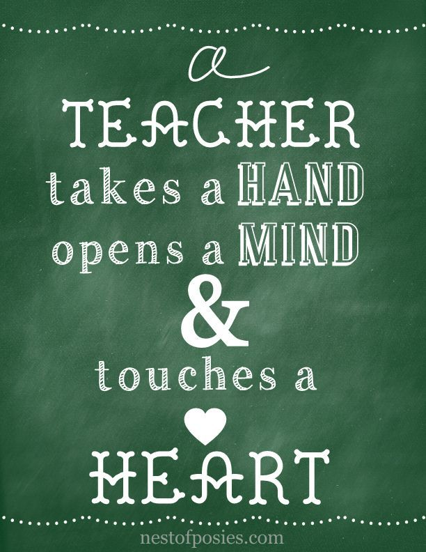 For the love of teachers: Green Chalkboard Printable. Teacher's Appreciation Day or end of school year gift