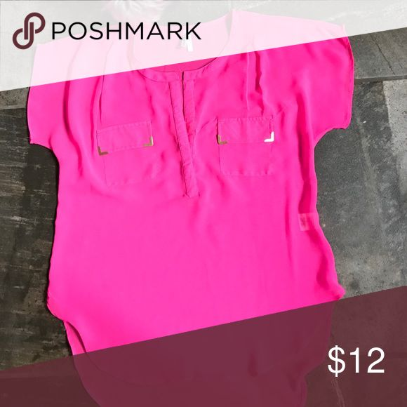 Light weight hot pink blouse Size large,live 4truth,hot pink blouse 👚 with gold accents,hi lo live 4 truth Tops Blouses
