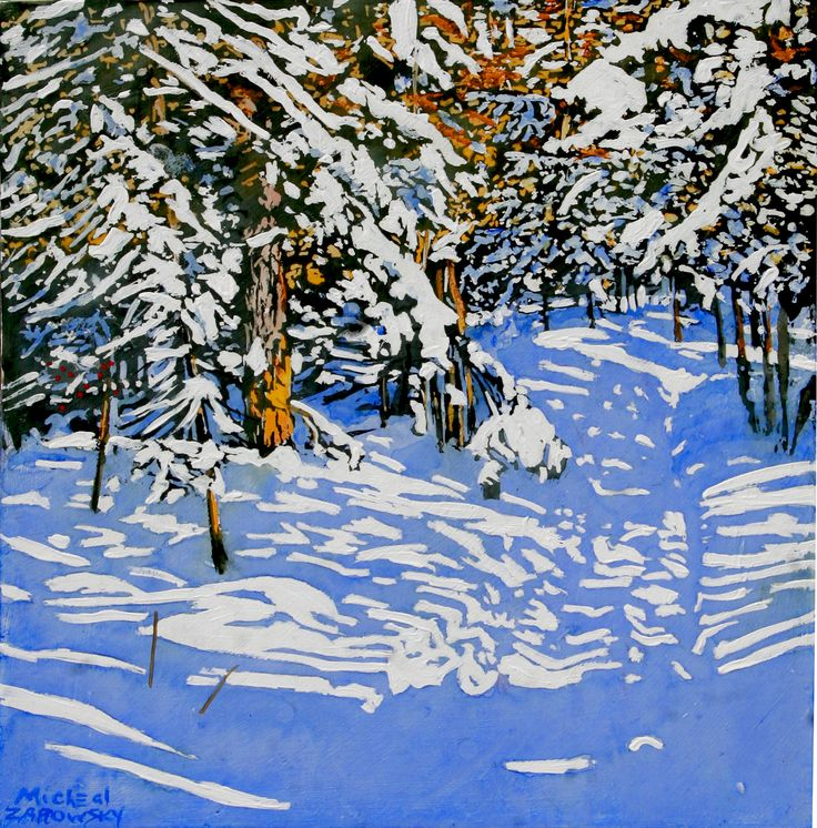 """winter trail  timeless drift of sunlight thru days never repeated the same way 16"""" x 16""""  micheal zarowsky - watercolour / acrylic painted directly on gessoed birch panel"""