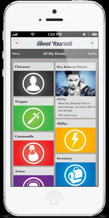 """Character sheets suck. Get organized with the RPG app Sheet Yourself! **** Review on the App Store of the RPG app Sheet Yourself: """"The way this app works is fantastic! I run a custom RPG using the Heroclix battle mechanics and I need custom sheets. This app has started giving me everything I need, but with the addition of the premium features it will be perfect!"""""""
