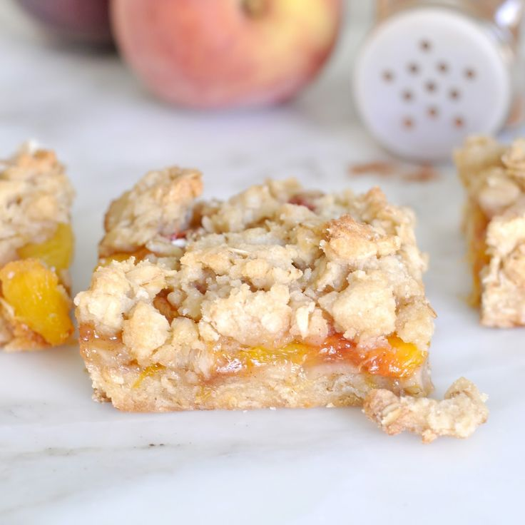 For a quick, easy and  mouthwatering summer treat   try this fruity and buttery peach crumble bars    There is nothing like a bite of a del...