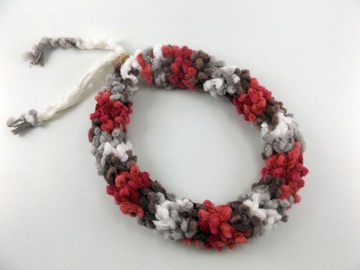 Handmade yarn necklace, Modern scarf necklace with tiny pompoms